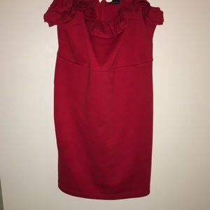 90s inspired red ruffle mini dress